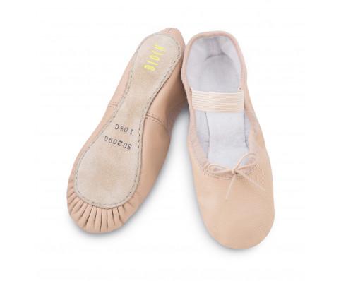 Balletsko i læder med fuld sål (Kun på webshop)