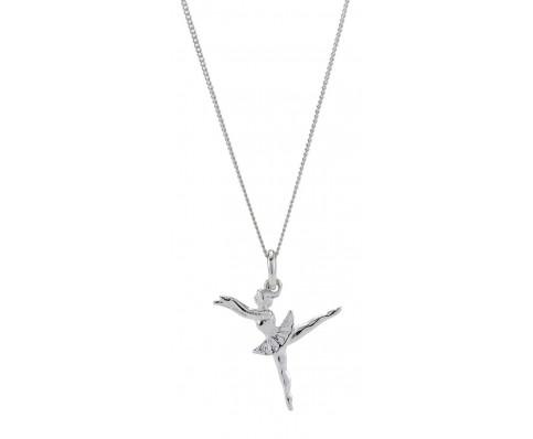 Sølv halskæde med ballet-vedhæng