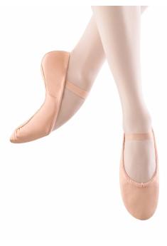 Balletsko i læder med fuld sål