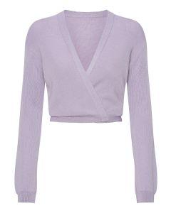 Lavendelfarvet X-over i uld
