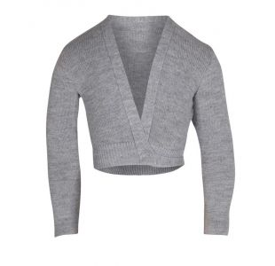 x-over til ballet grå slå om bluse  strikbuse
