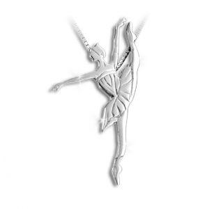 Sølv halskæde med balletdanser