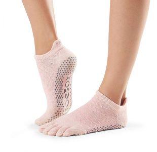 Lowrise toesox til yoga i lyserød Yogasokker  Yogastrømper