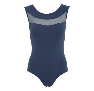 Blå balletdragt med dyb ryg