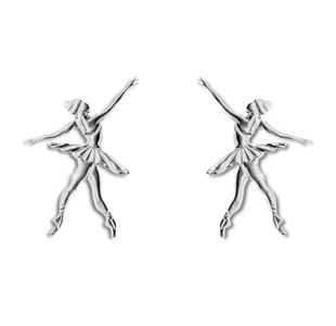 Øreringe fra Mikelart med ballerinaer. Sølv ørering til den balletglade sjæl