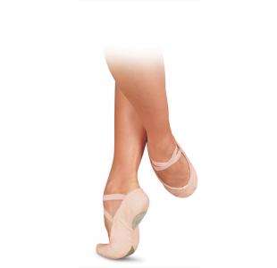 Balletsko fra sanse i canvas og lyserød med kryds elastik