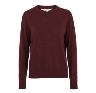 Bordeaux sweater i 100% merinould fra Basic Apparel